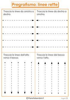 Schede di Pregrafismo di Percorsi con Linee Rette e Curve | PianetaBambini.it Nursery Worksheets, Tracing Worksheets, Preschool Worksheets, Preschool Activities, Tracing Lines, Tracing Sheets, Cursive Handwriting Practice, Pre Writing, Holidays And Events