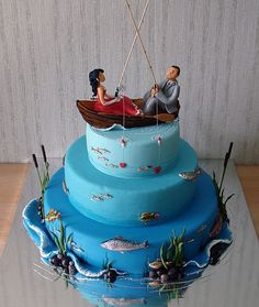 Couple fishing cake