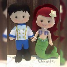 Eric e la sirenetta Ariel.  Feltro e pannolenci