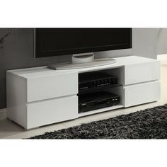 Found it at Wayfair - TV Stand Tv Stand Wayfair, Cool Tv Stands, All Modern, Storage Spaces, Interior Decorating, Living Room, House, Furniture, Media Cabinets