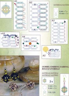 Схемы / Scheme 1 of 2 earrings or beaded bead Beaded Beads, Beaded Jewelry Patterns, Beads And Wire, Beading Patterns, Beading Projects, Beading Tutorials, Beading Techniques, Earring Tutorial, Seed Bead Jewelry
