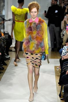 """Moschino Cheap And Chic//The collection was named Make Up Your Life, a double entendre for actual makeup and a sort of exhortation to choose your own adventure through clothing. """"It means mash up your clothes to find your style,"""" said designer Francesca Rubino. """"And find the life you like. Times are hard, so we have to use clothes to have some fun."""""""
