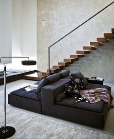 Sectional sofa DOMINO by @Zanotta | #design Emaf Progetti #interiors #staircase