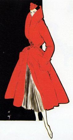 Illustration by René Gruau, 1950s.