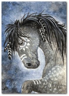 Mustang Horses  Native American Feathers Dapple 24 by AmyLynBihrle