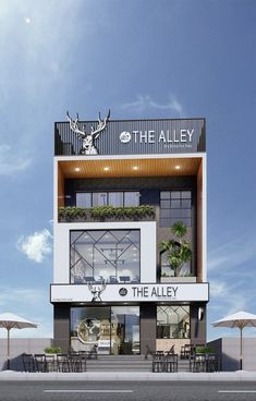 HÉ LỘ MÔ HÌNH 3D THE ALLEY HUẾ Restaurant Exterior Design, Cafe Interior Design, Entrance Design, Facade Design, Building Front, Building Design, Commercial Architecture, Facade Architecture, Front Elevation Designs