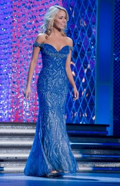 Natalie Davis competes in Evening Gown at Miss America 2012.
