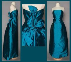 Early 1960s Teal Silk Ball Gown