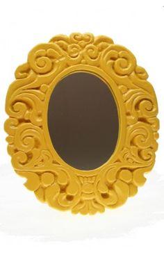 Custard Pie Yellow Oval Mirror