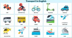 Transport In English and Means of transportation in English List. Vocabulary for Kids and for You