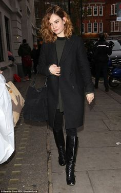 Out and about: Lily James looked chic on Monday as she headed to an interview on BBC Radio...