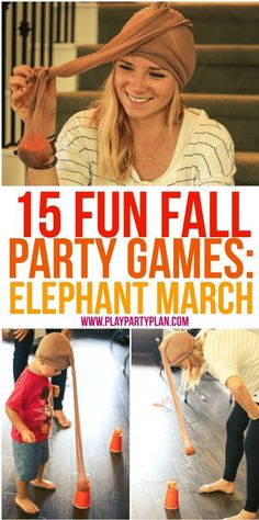 15 fun fall party games that are perfect for every age for kids for adults for teens or even for kindergarten age kids Tons of great minute to win it style games you cou. Fall Party Games, Fall Games, Halloween Party Games, Fall Halloween, Games For Kids Party, Carnival Party Games, Home Party Games, Halloween Games Adults, Holiday Games