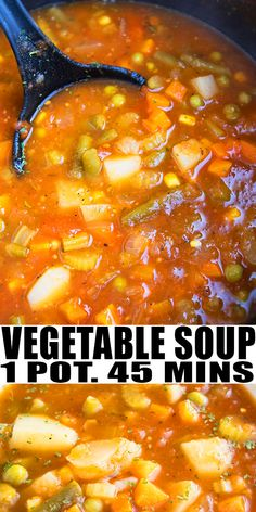 Quick and easy vegetable soup recipe made in one pot in less than 1 hour, using simple ingredients. It's healthy, packed with vegetables and Italian herbs and spices. Vegetarian Vegetable Soup, Vegetable Soup Crock Pot, Homemade Vegetable Soups, Homemade Soup, Vegetarian Recipes, Italian Vegetable Soup, Winter Vegetable Soup, Old Fashioned Vegetable Soup Recipe, Homemade Vegetable Soup Easy