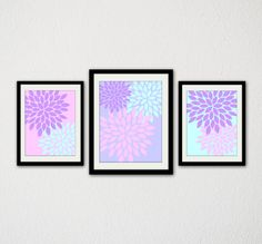 "Floral Burst Set of Three. Nursery Print. Baby Girl. Pink. Purple. Blue. Abstract. Flower Burst. Baby Room. Kids Room. 8.5x11"" Prints."