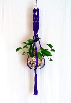 Terrific Pictures Minimalist Handcrafted Unique Purple Macrame Plant Hanger / Kitchen Sink Hanging Planter / Other colors available / Free Ship Style If you have little room for the keeping flowerpots, hanging flowerpots really are a great Alternativ Macrame Plant, Macrame Hanging Planter, Hanging Planters, Indoor Planters, Craftsman Bathroom, Pot Hanger, Flower Pots, Flower Basket, Flowers