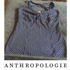 Anthropologie 9-H15 StCL Blue & Cream Polka Dot Anthropologie 9-H15 StCL Blue & Cream Polka Dot. 25 inches long. 17 inch bust. Cross straps in back. Knotted in front. Excellent condition. Feel free to make an offer. Anthropologie Tops Tank Tops