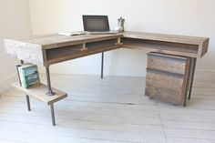 Reclaimed Scaffolding Board Industrial Chic Corner L-Shaped Desk with Built In Storage and Steel Legs - Matching Filing Cabinet Optional Ask a Question (De Inspirit)