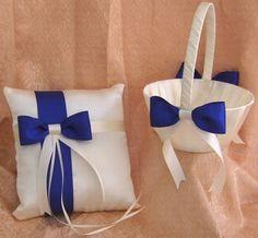 Royal Blue Wedding Flower Girl Basket And Ring Bearer Pillow www.facebook.com/jevelweddingplanning/