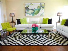 "Transitional Living Room with Ikea Lappljung Ruta Rug  9' 10"" x 6' 7"", Carpet, Hardwood floors"
