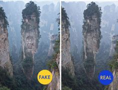 Is the photo on the left a carving of Buddha at the Ngyen Khang Taksang Monastery? No. The un-altered photo on the right actually shows the Wulingyuan Scenic Area in China's Hunan Province.