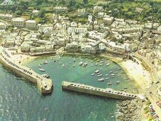 Mousehole - Cornwall-Where I was born and lived the first year of my life. Mousehole Cornwall, West Cornwall, Devon And Cornwall, Villages In Uk, Study In London, Ocean Pictures, Holiday Places, Wonderful Places, Amazing Places