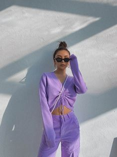 Purple Pants Outfit, Purple Outfits, Colourful Outfits, Pretty Outfits, Cute Outfits, Purple Sweater, Stylish Outfits, Girl Outfits, Lavender Outfit