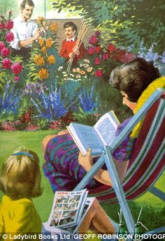 Everything in the garden's lovely: Peter helps Daddy tend to the dahlias while Jane and Mu...