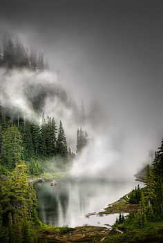 """""""Socked in #Lake at #MountBaker """" North Cascades #Washington (Photography by Colin Grigson, via Flickr)"""