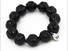This simple strand bracelet with large beads is made on elastic and is suits both women and men. Wear it solo or match it with our other bracelets.
