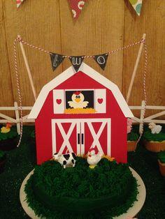 Barn cake topper for birthday cake