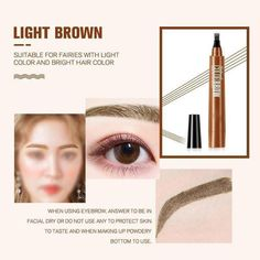 [On-Time Points Eyebrown Pen Eyebrow Pencil, Eyebrow Makeup, Eyeliner, Eyeshadow, Beauty Makeup, Eye Brows, Beauty Skin, Makeup Tips, How To Color Eyebrows