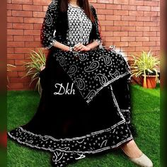 Indian Bollywood Embroidery Designer Rayon Black Kurta With Skirt Set Special For Women.Free Express Shipping In USA/UK.Gift For Her.