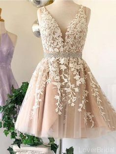 V Neck Lace Beaded Belt Cheap Homecoming Dresses Online, Cheap Short P – LoverBridal Cheap Short Prom Dresses, Hoco Dresses, Short Lace Dress, Tulle Prom Dress, Tulle Lace, Wedding Dresses, Formal Dresses, Dama Dresses, Maid Dress