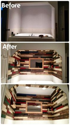 Pallet Wall Paneling Project Around the Jacuzzi Bath Tub   101 Pallet Ideas