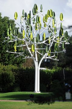 The Wind Tree, developed by the French New Wind group, is a prototype battery of small wind turbines in the form of a minimalist tree that seamlessly blends in with urban environments. Standing 26 feet tall, plastic pods resembling leaves, with miniature turbine blades inside, hang from the tree's steel branches and can swivel to catch …