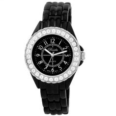 """Breda Women's 1625-Black """"Avery"""" Rhinestone Encrusted Sleek Metal Watch Breda. $31.50. Water-resistant - not recommended to take into deep water or shower. Rhinestone-encrusted bezel. Contrasting Arabic numerals on the dial; Large luminescent hands. Black metal linked band with fold-over-clasp. Highest standard Japanese parts Quartz movement"""