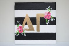 MADE TO ORDER - Striped Floral Greek Sorority Letters - Delta Gamma
