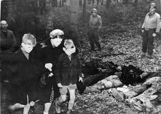 German citizens made aware of the atrocities at a nearby prisoners of war camp for captured Soviets, Suttrop, Germany, May 1945