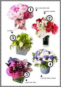 Kate Spade's five favorite florists in NYC. Especially love the #1 and #4 bouquets.