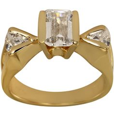 Emerald Cut CZ Engagement Ring With Trillion Accents In Heavy Plated 14k Gold