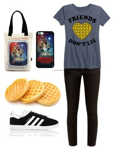 """Stranger things favourite tee"" by klove2814 on Polyvore featuring adidas, Loungefly, Khaite and LC Trendz"