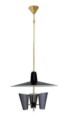 Jacques Biny; Enameled Aluminum and Brass Ceiling Light, 1950s.