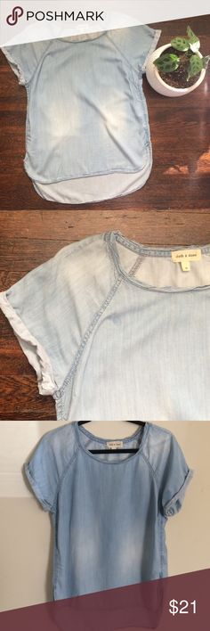 Cloth And Stone Chambray Cuffed T-shirt Like new! High-low t- shirt with cuffed sleeves by Cloth and Stone. Soft drapey tencel material. 20 inch bust, 25 in length from shoulder to bottom on front. Cloth and Stone Tops Tees - Short Sleeve