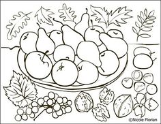 Free Coloring Pages: Autumn fruits * Coloring page * Desene de colorat cu toamna Fruit Coloring Pages, Pattern Coloring Pages, Coloring Sheets, Coloring Books, Free Coloring, Fall Arts And Crafts, Fall Fruits, Autumn Activities, Red Berries