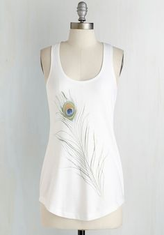 Just Keeps Getting Feather Top. Floating on the lighthearted aura of this whimsical white top, you elevate the mood of each destination you visit! #white #modcloth
