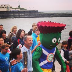 The 2014 Glasgow Commonwealth Games Baton Relay passes through Aberystwyth! Clyde the Mascot was on top form as were all baton holders