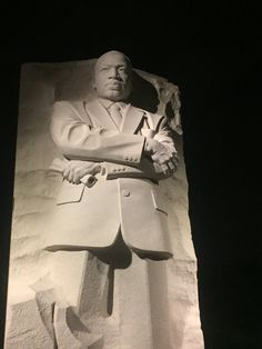 The statue of Martin Lither King Jr at his memorial.