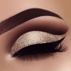 Gold and burgundy eye makeup