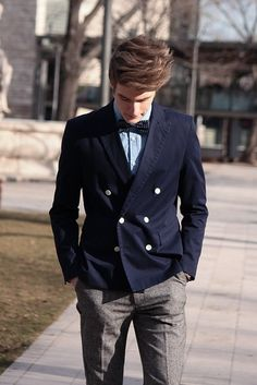 Mens bow tie outfit - double breasted navy jacket, gray wool pants