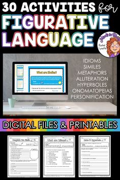 Figurative language is SUCH a fun English language arts topic to tackle with students! Kids love learning about onomatopoeias, hyperboles, idioms, personification, and more because they tend to be so silly and fun to read and write. This resource pack includes a variety of printables or Google Classroom digital versions that you can use to teach and practice figurative language in your upper elementary classroom. You definitely want to click through to grab this ELA activity pack for your class! English Language Arts, English Grammar, Language Activities, Learning Activities, Figurative Language Activity, Similes And Metaphors, Literature Circles, Idioms, Upper Elementary